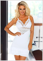 Beauty Night Petra Chemise & Thong - White (S/M)