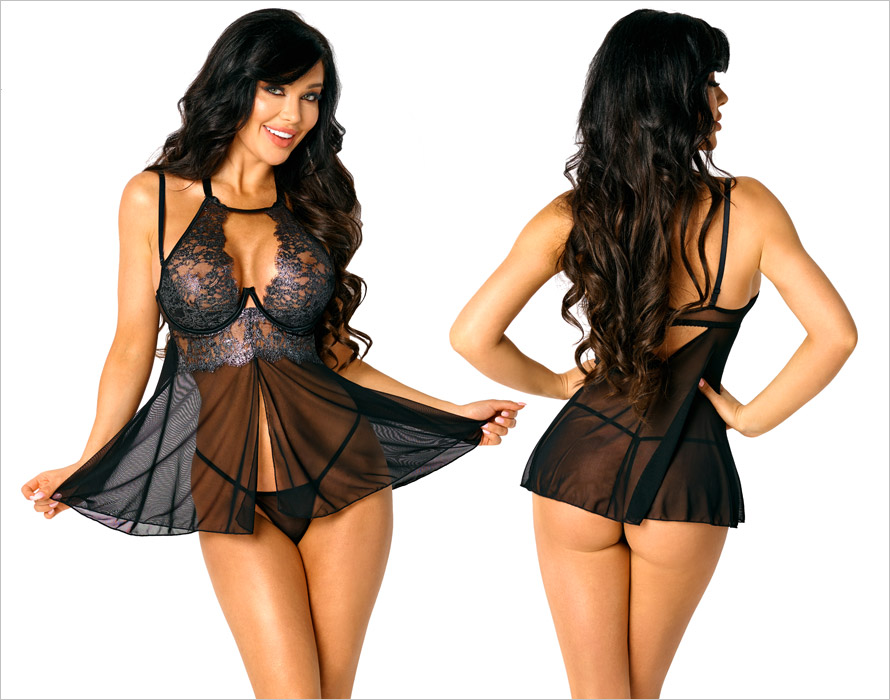 Beauty Night Mariana Chemise & Thong - Silver (S/M)