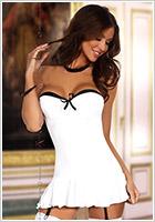 Beauty Night Eveline Mini Dress & Thong - White (S/M)