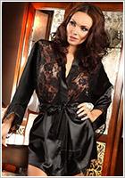 Beauty Night Prilance Dressing Gown & Thong - Black (XL/XXL)