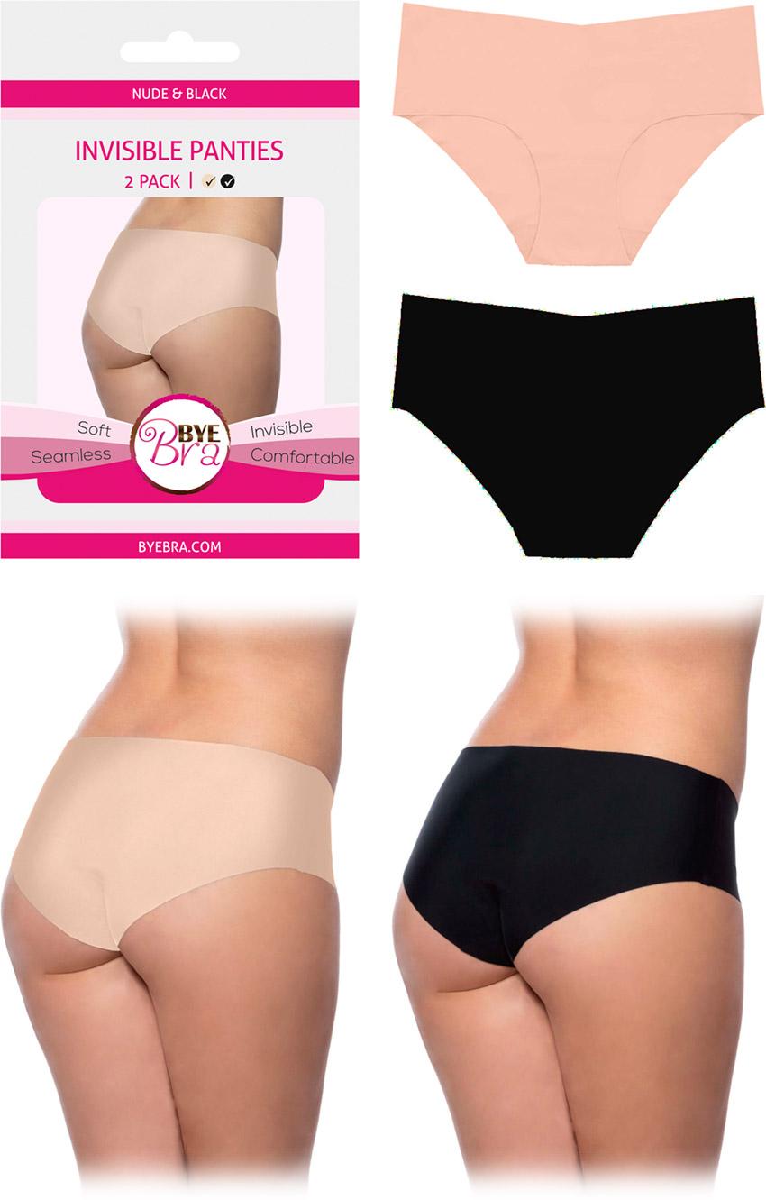 Bye Bra Pack de panties invisibles & sans couture - Beige & noir (XS)