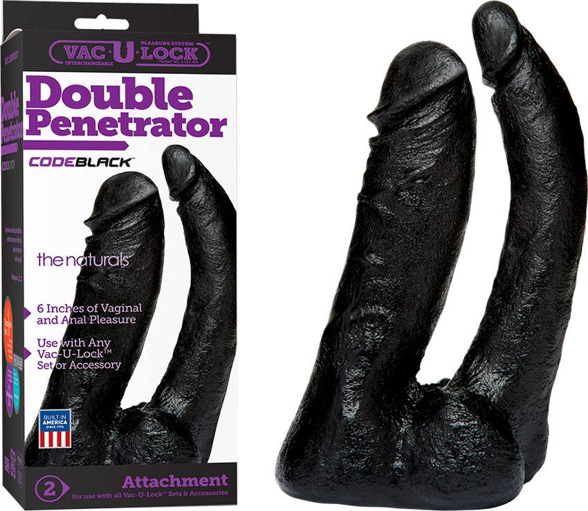 Dildo realistico a doppia penetrazione Doc Johnson Vac-U-Lock - Nero