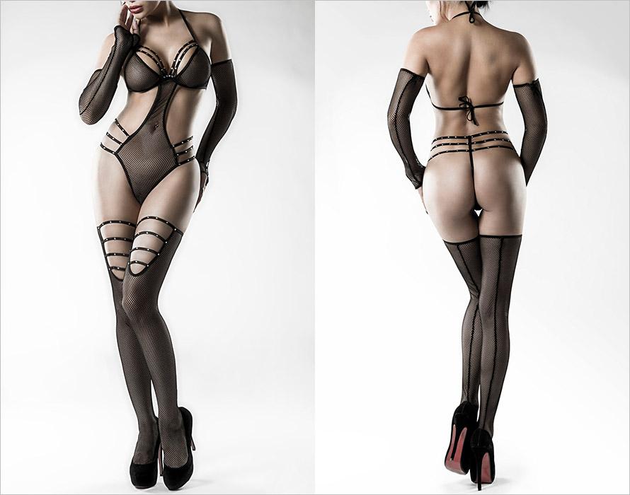 Grey Velvet Body Set 14490 - Nero (XS/M)