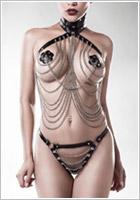 Grey Velvet Set di imbracatura 15138 - 3 pezzi - Nero (XL/XXXL)