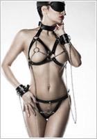 Grey Velvet Set di imbracature 14504 - 5 pezzi - Nero (XS/XL)