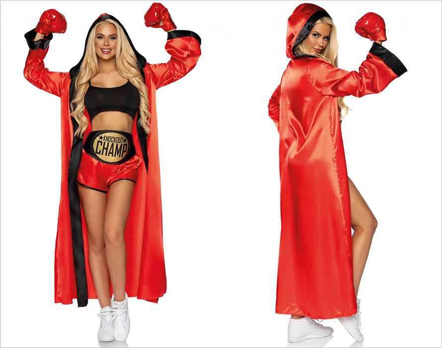 Leg Avenue Knockout Champ women's boxer costume - Red & Black (S/M)