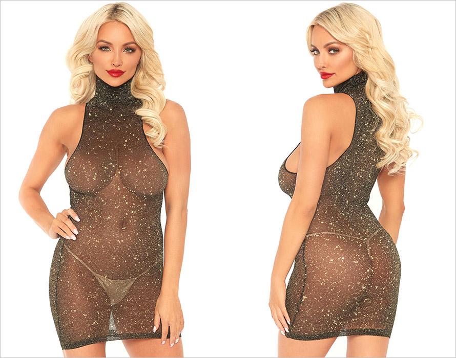 Leg Avenue Shimmer Kleid - Schwarz & Gold (S/XL)