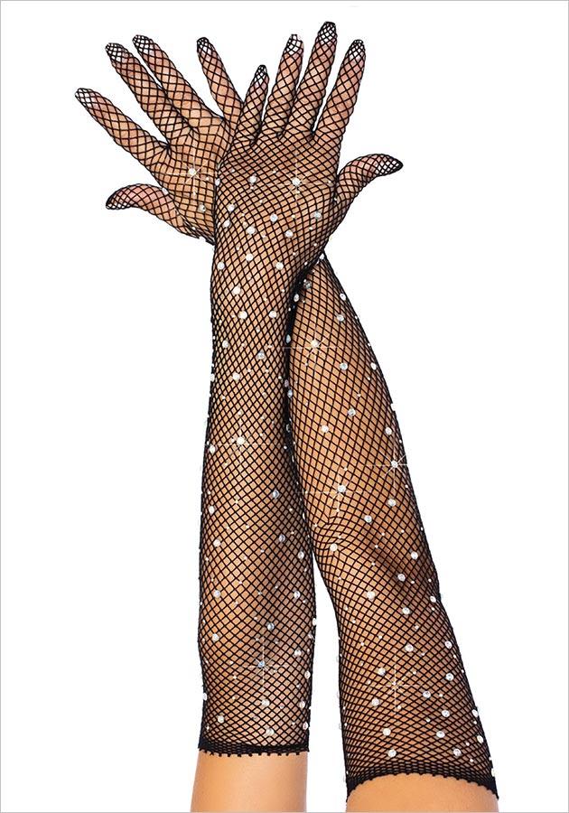 Leg Avenue Shiny Handschuhe - Schwarz (S/L)