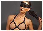 Leg Avenue Teddy Bondage avec masque KINK - Noir (S/L)