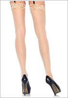 Leg Avenue Calze Sheer Lace Top - Beige (S/M)