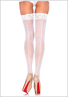 Leg Avenue Sheer Lace Top Stockings with Backseam - White (L/XL)
