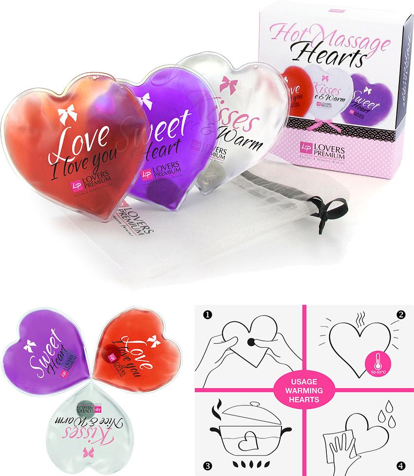 LoversPremium wärmende Herzen für die Massage - 3 Stück