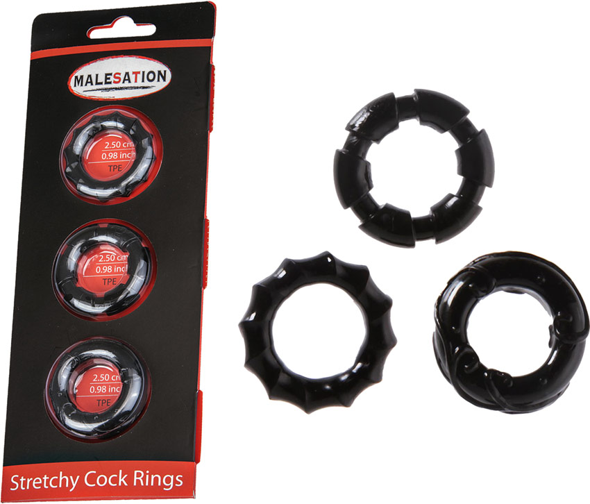 Pack of 3 MaleSation stretchy penis rings