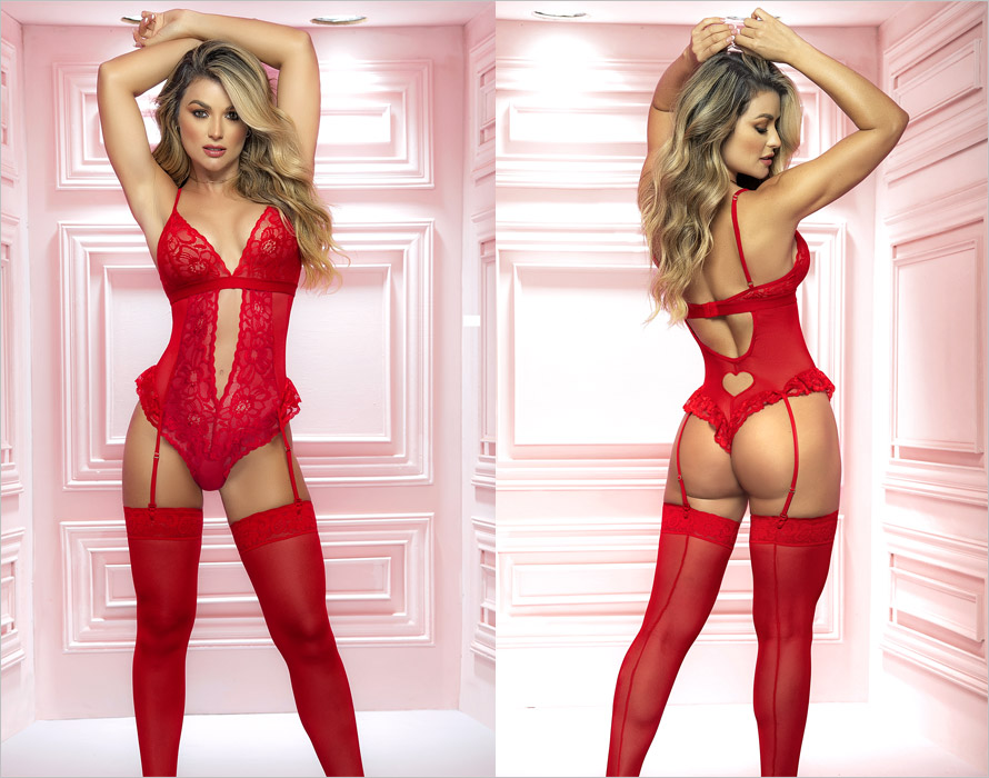 Mapalé 8568 Body & Suspender belt - Red (S/M)