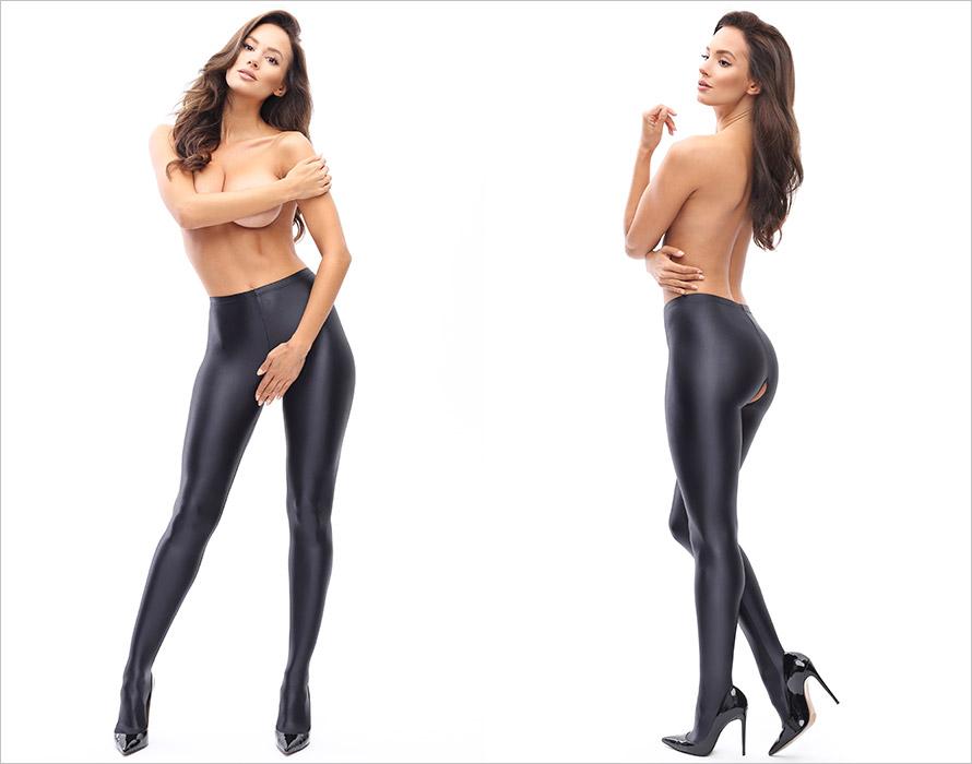 MissO P800 open crotch Pantyhose - Black (XL)