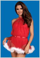 Obsessive Santastic Christmas Dress - Red & white (S/M)