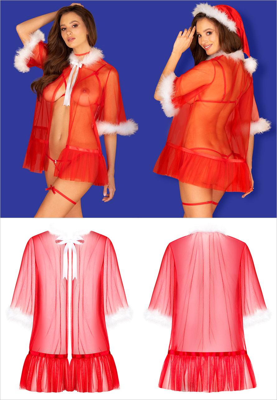 Obsessive Santasia Weihnachts-Chemise - Rot (S/L)