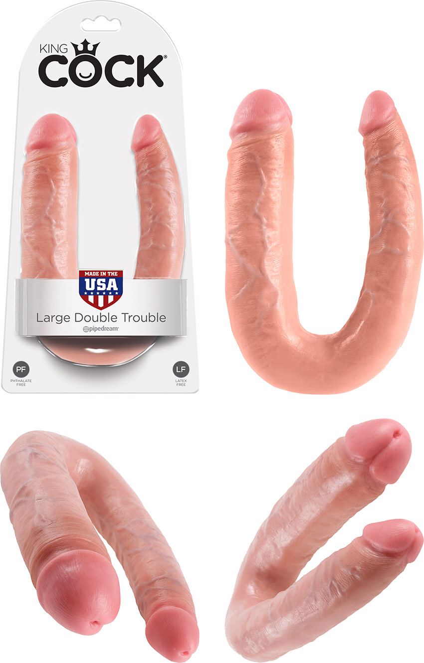 Pipedream King Cock Double Trouble Large dildo - Beige