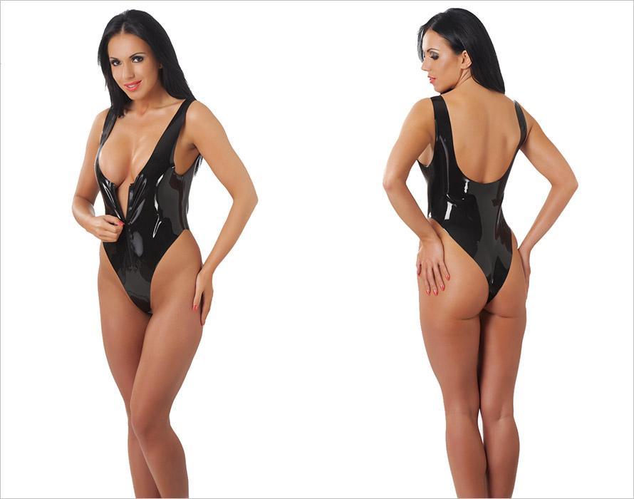 Rimba latex body with zipper - Black (S)