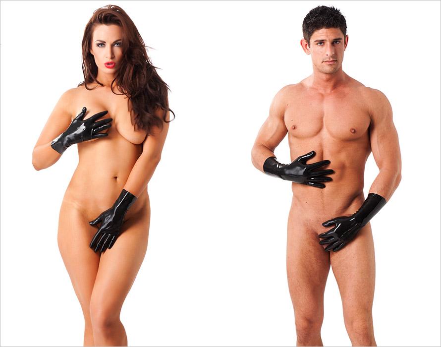 Rimba kurze Handschuhe aus Latex - Schwarz (L)