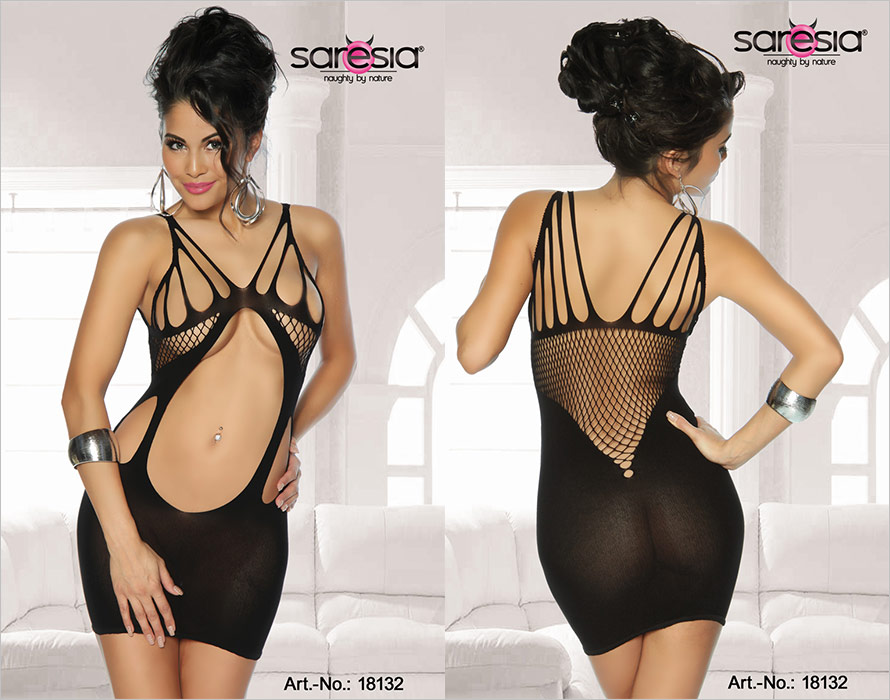 Saresia Bodystocking-Dress Seductive Flames - Black (S/L)