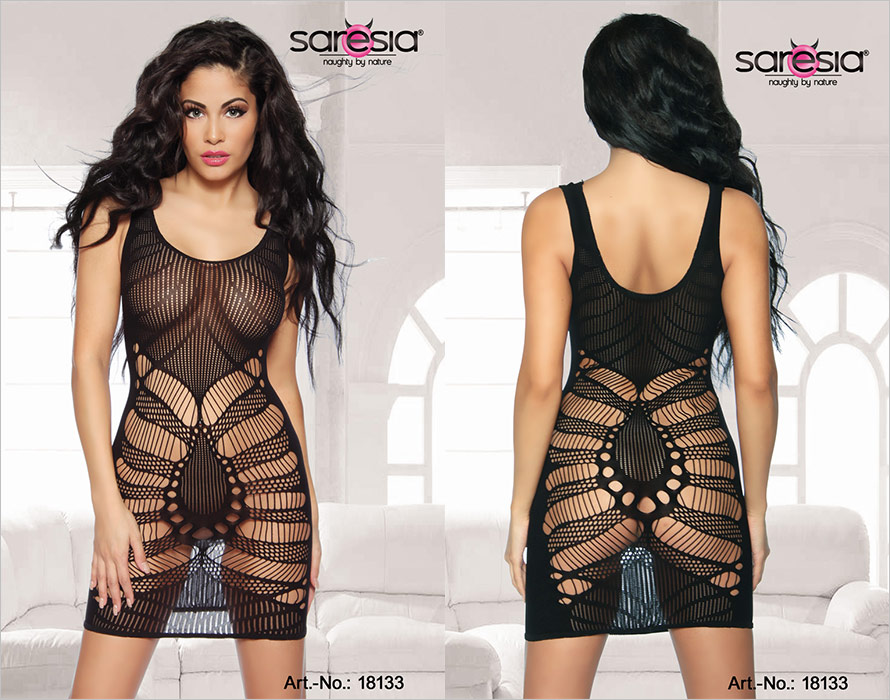 Saresia Bodystocking-Robe Seductive Spider - Noir (S/L)