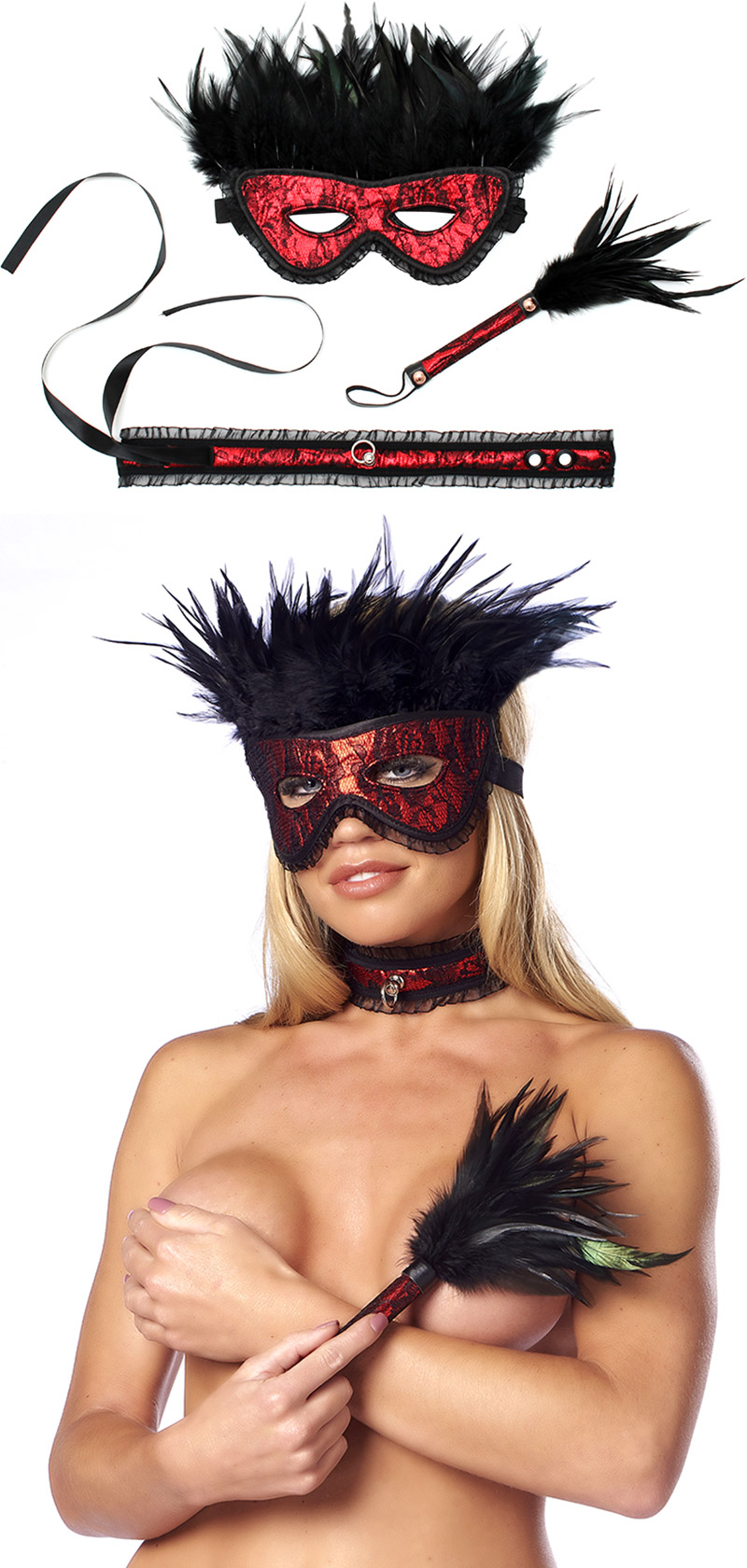 Set d'accessoires BDSM Rimba Domina - 3 pièces - Rouge & noir