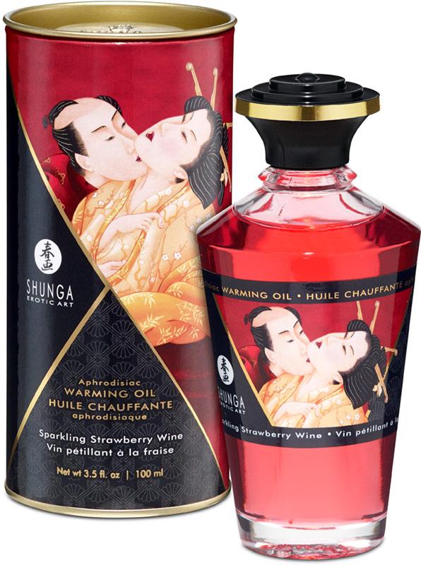 Olio riscaldante e afrodisiaco Shunga - Vino frizzante alla fragola