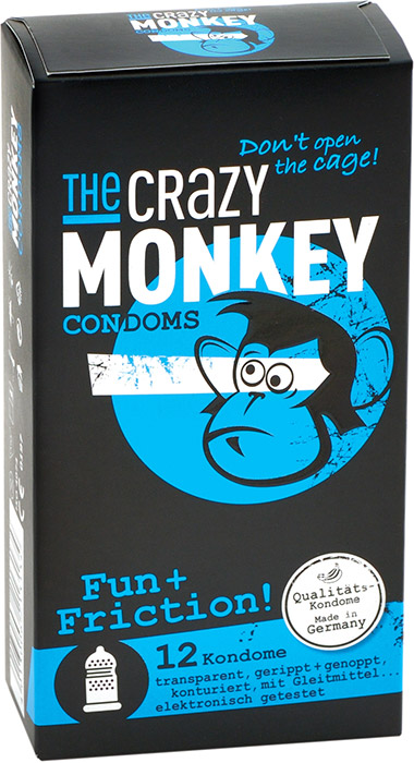 Préservatif stimulant The Crazy Monkey - Fun+Friction (12 Préservatifs)